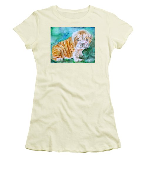 Women's T-Shirt (Junior Cut) featuring the painting Bulldog Cub  - Watercolor Portrait by Fabrizio Cassetta