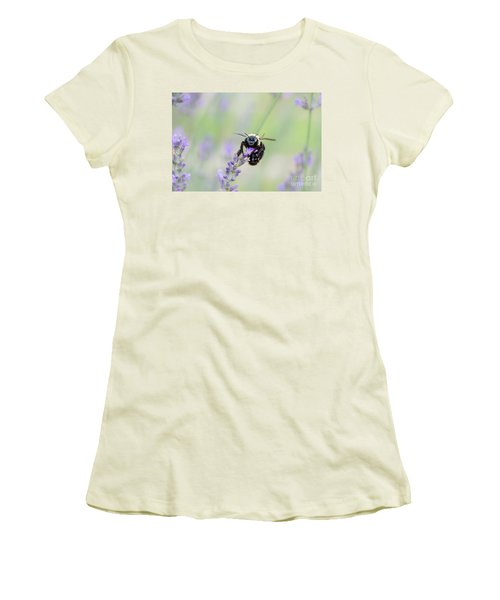 Women's T-Shirt (Athletic Fit) featuring the photograph Bumblebee On The Lavender Field by Andrea Anderegg