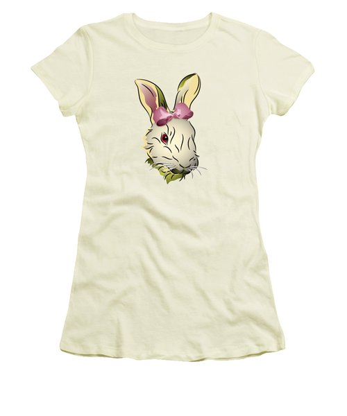 Bunny Rabbit With A Pink Bow Women's T-Shirt (Junior Cut) by MM Anderson