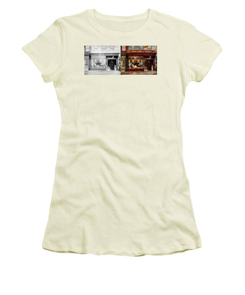 Women's T-Shirt (Junior Cut) featuring the photograph Butcher - Meat Priced Right 1916 - Side By Side by Mike Savad