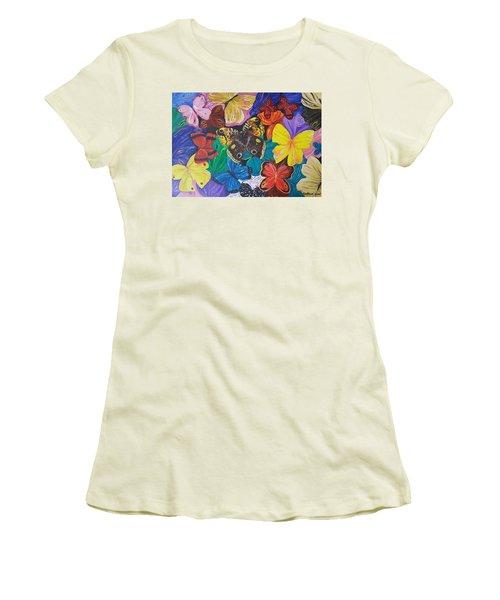 Butterflies Women's T-Shirt (Junior Cut) by Rita Fetisov