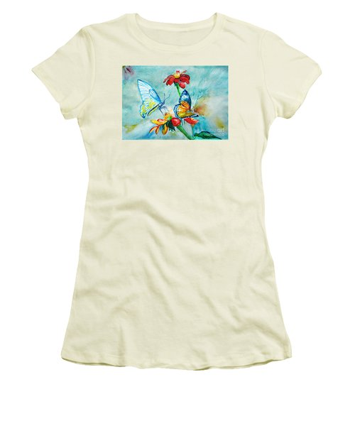 Women's T-Shirt (Junior Cut) featuring the painting Butterfly Dance by Jasna Dragun