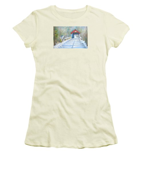 Cabin Run Bridge In Winter Women's T-Shirt (Athletic Fit)