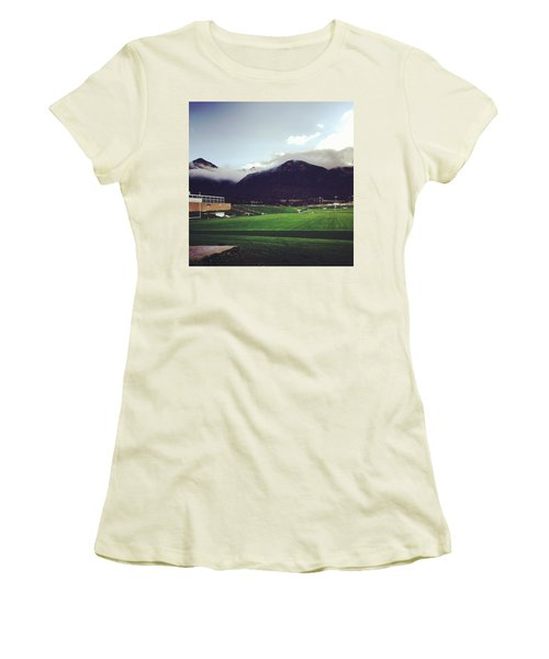 Women's T-Shirt (Junior Cut) featuring the photograph Cadet Athletic Fields by Christin Brodie