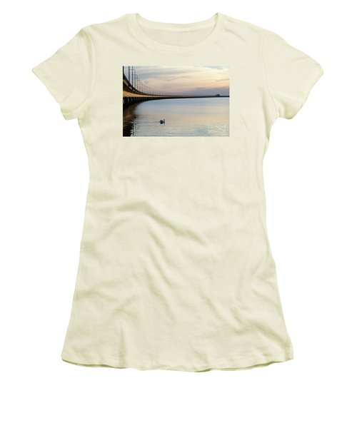 Women's T-Shirt (Athletic Fit) featuring the photograph Calm Evening By The Bridge by Kennerth and Birgitta Kullman