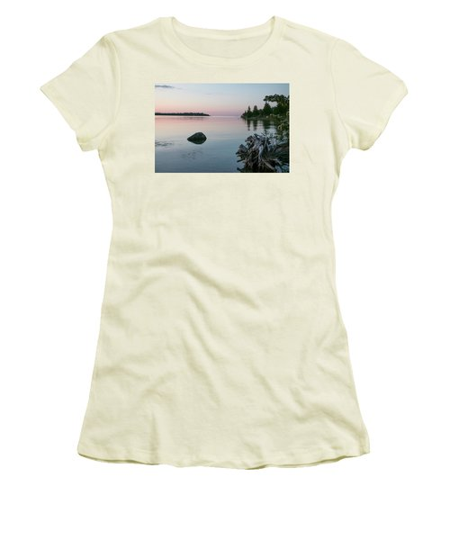 Calm Water At Lake Huron Crystal Point Women's T-Shirt (Junior Cut) by Kelly Hazel