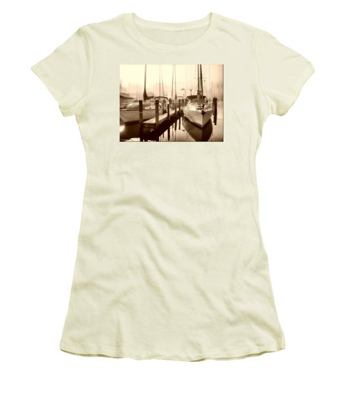 Women's T-Shirt (Junior Cut) featuring the photograph Calmly Docked by Brian Wallace
