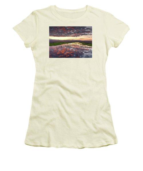 Women's T-Shirt (Junior Cut) featuring the photograph Camas Spring Sunrise by Leland D Howard