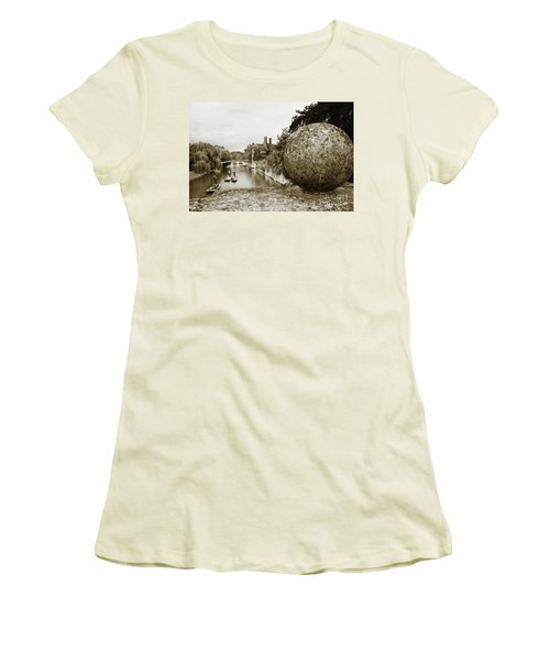 Women's T-Shirt (Junior Cut) featuring the photograph Cambridge Punting Sepia by Eden Baed