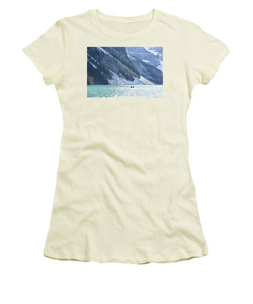 Canoeing On Lake Louise Women's T-Shirt (Junior Cut) by Keith Boone