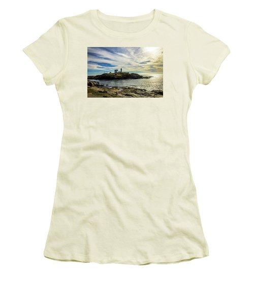 Cape Neddick Lighthouse Women's T-Shirt (Junior Cut) by Sherman Perry