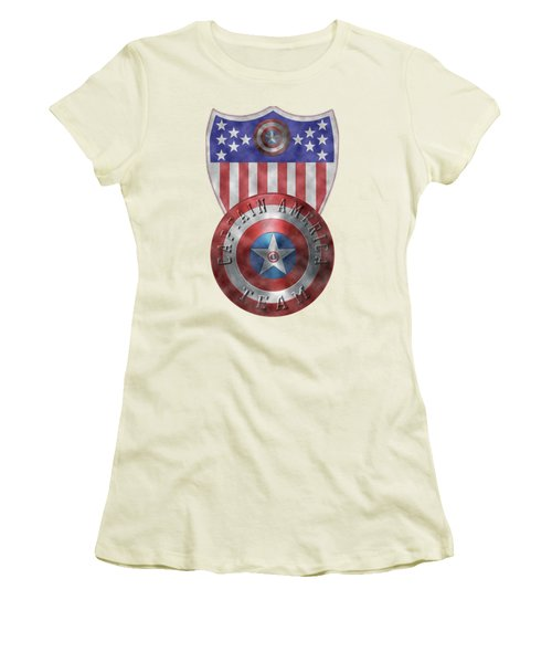 Women's T-Shirt (Junior Cut) featuring the painting Captain America Shields On Gold  by Georgeta Blanaru