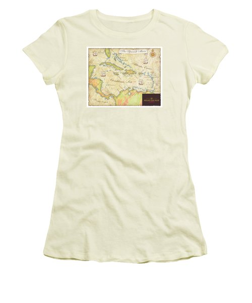 Women's T-Shirt (Junior Cut) featuring the digital art Caribbean Map II by Unknown