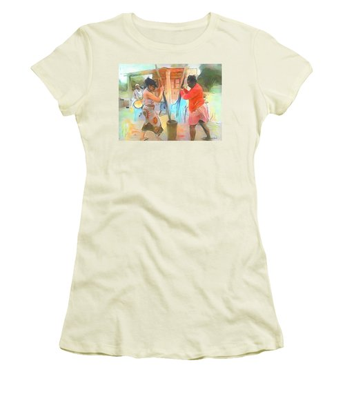 Caribbean Scenes - Mortar And Pestle In De Country Women's T-Shirt (Athletic Fit)