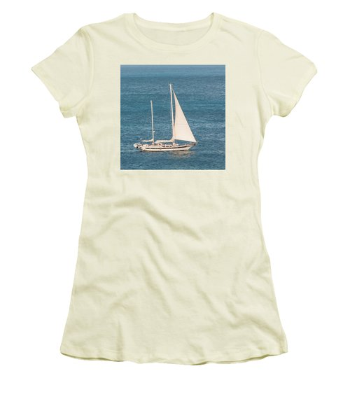 Women's T-Shirt (Athletic Fit) featuring the photograph Caribbean Scooner by Gary Slawsky