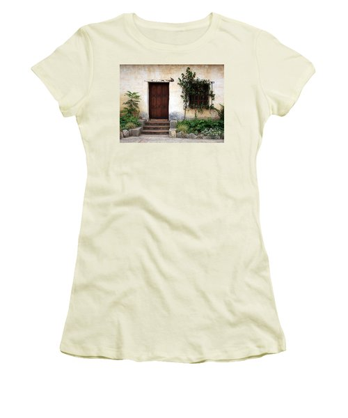 Carmel Mission Door Women's T-Shirt (Athletic Fit)