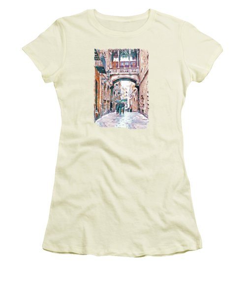 Carrer Del Bisbe - Barcelona Women's T-Shirt (Junior Cut) by Marian Voicu