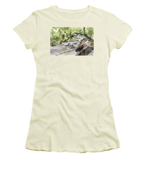Catawba Falls - A Watercolor Sketch Women's T-Shirt (Athletic Fit)