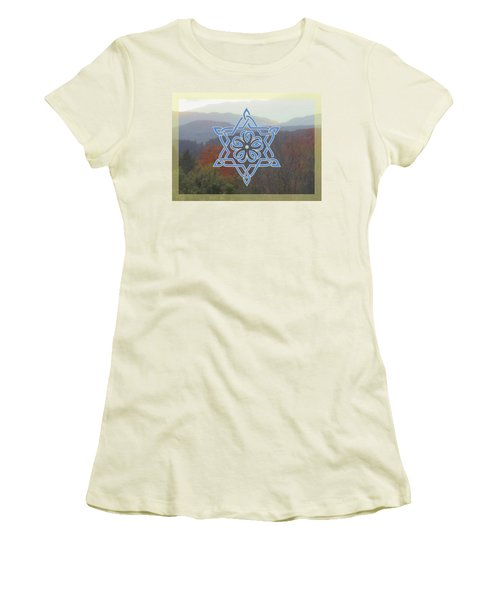 Celtic Hexagram Rose In Blue Women's T-Shirt (Athletic Fit)
