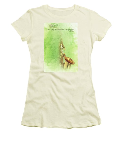Charlie Parker Saxophone Green Vintage Poster And Quote, Gift For Musicians Women's T-Shirt (Athletic Fit)