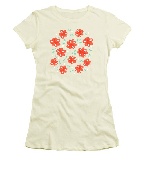 Cheerful Red Flowers Women's T-Shirt (Athletic Fit)