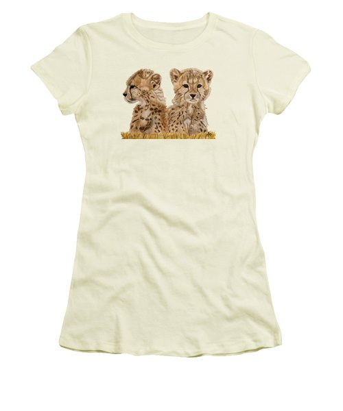 Cheetah Cubs Women's T-Shirt (Junior Cut) by Angeles M Pomata