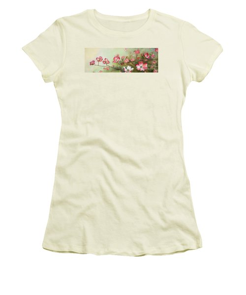 Women's T-Shirt (Athletic Fit) featuring the painting Cherokee Dogwood - Brave- Blushing by Jan Dappen