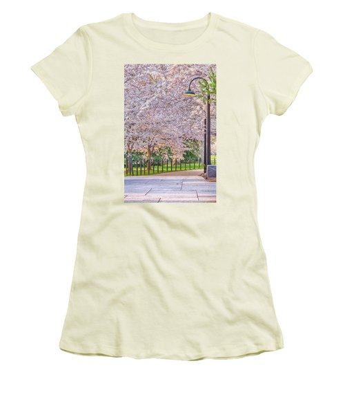 Cherry Morning Path Women's T-Shirt (Junior Cut) by David Cote