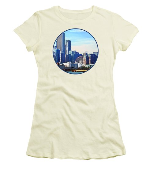 Chicago Il - Chicago Skyline And Navy Pier Women's T-Shirt (Junior Cut) by Susan Savad