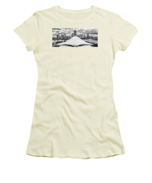 Women's T-Shirt (Athletic Fit) featuring the photograph Chicago Skyline From Navy Pier Black And White by Adam Romanowicz