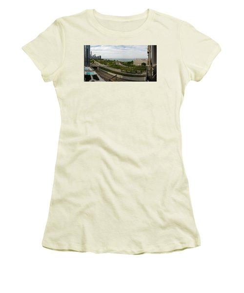 Chicago Skyline Showing Monroe Harbor Women's T-Shirt (Junior Cut) by Michael Bessler