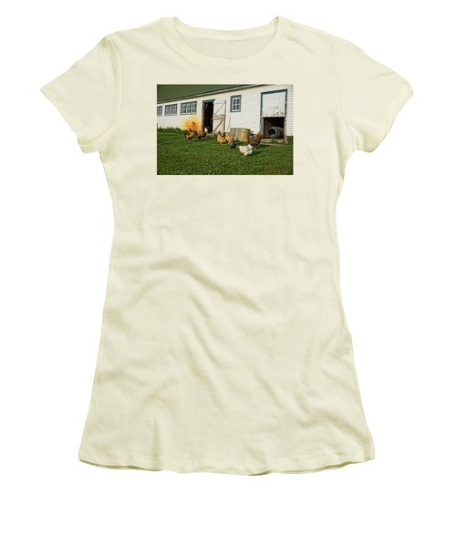 Chickens By The Barn Women's T-Shirt (Junior Cut) by Steven Clipperton