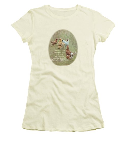 Chickens With Attitude On A Transparent Background Women's T-Shirt (Athletic Fit)
