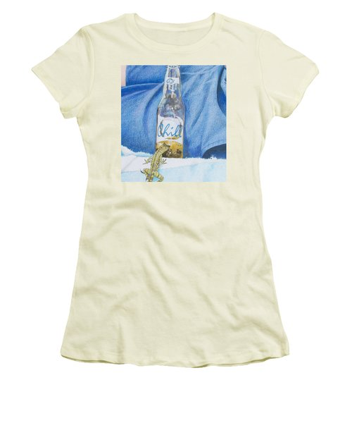 Women's T-Shirt (Junior Cut) featuring the mixed media Chill by Constance DRESCHER
