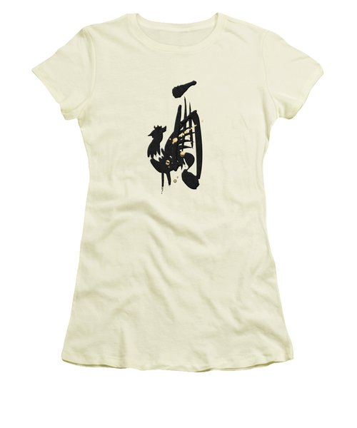 Chinese Zodiac - Year Of The Rooster On Rice Paper Women's T-Shirt (Athletic Fit)