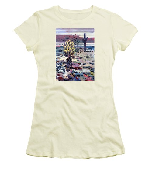 Cholla Saguargo And Ocotillo Women's T-Shirt (Junior Cut) by Donald Maier