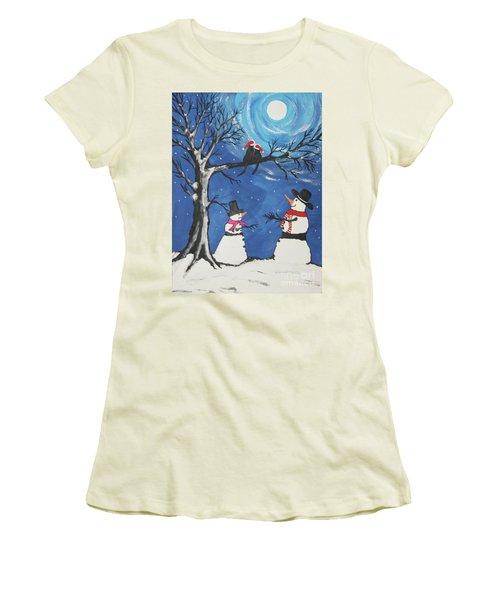 Christmas Cats In Love Women's T-Shirt (Junior Cut) by Jeffrey Koss
