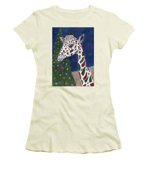 Women's T-Shirt (Athletic Fit) featuring the painting Christmas Giraffe by Jamie Frier
