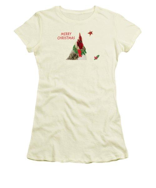 Christmas Rooster Tee-shirt Women's T-Shirt (Junior Cut) by Donna Brown