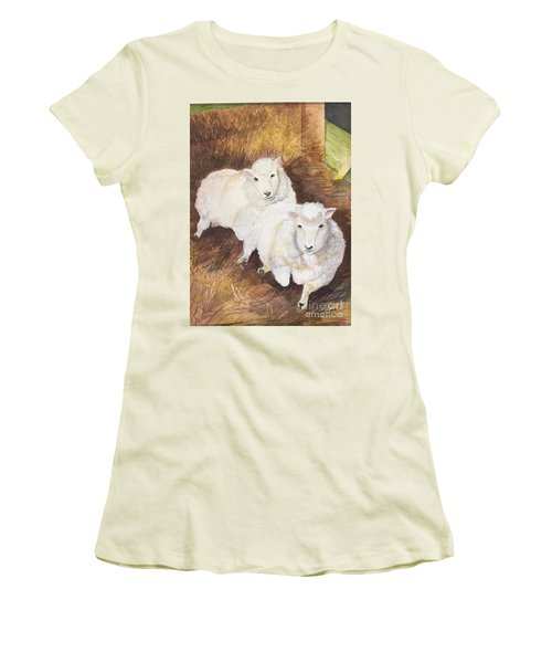 Christmas Sheep Women's T-Shirt (Junior Cut) by Lucia Grilletto