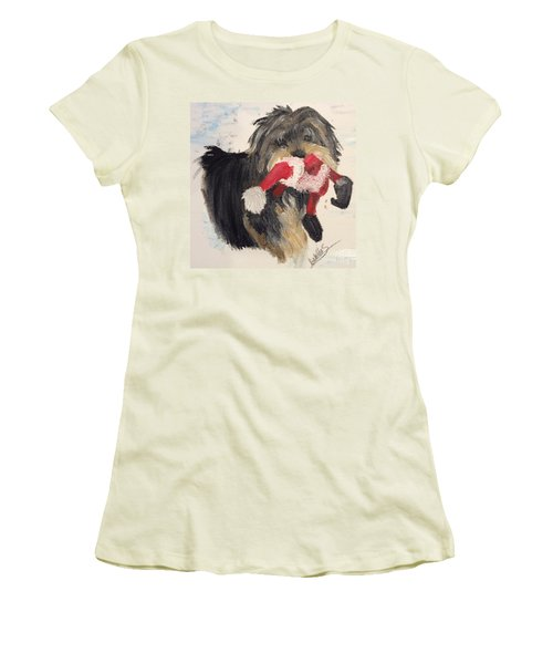 Christmas Yorkie Women's T-Shirt (Athletic Fit)
