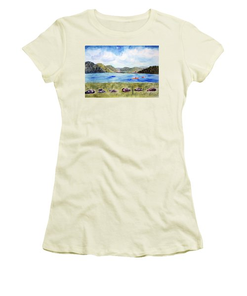 Women's T-Shirt (Junior Cut) featuring the painting Chrystal Lake  Barton Vt  by Donna Walsh