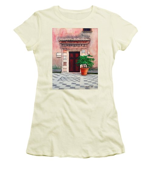Church Side Door - Taormina Sicily Women's T-Shirt (Junior Cut) by Mike Robles