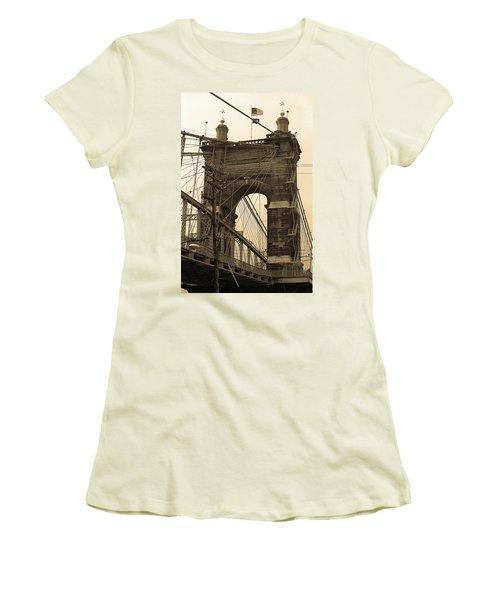 Cincinnati - Roebling Bridge 4 Sepia Women's T-Shirt (Junior Cut) by Frank Romeo