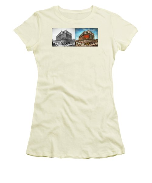 Women's T-Shirt (Athletic Fit) featuring the photograph City - Ny New York - The Nation's Largest Dept Store 1908 - Side by Mike Savad