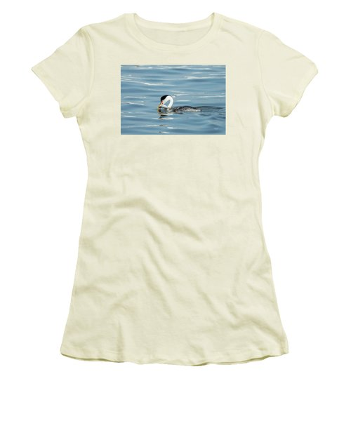 Women's T-Shirt (Junior Cut) featuring the photograph Clarks Grebe by Everet Regal