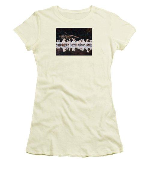 Clear Lake Pelicans Women's T-Shirt (Junior Cut) by Linda Becker
