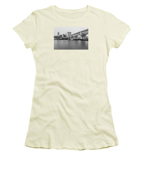 Cleveland Skyline In Black And White  Women's T-Shirt (Junior Cut) by John McGraw