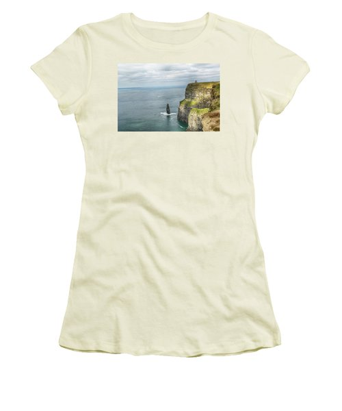 Women's T-Shirt (Junior Cut) featuring the photograph Cliffs Of Moher 3 by Marie Leslie