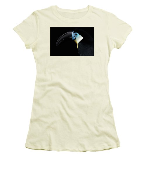Close-up Channel-billed Toucan, Ramphastos Vitellinus, Isolated On Black Women's T-Shirt (Junior Cut) by Sergey Taran